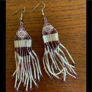 Hand beaded purple and white dangly earrings